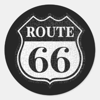 Crackled Rte 66 Classic Round Sticker