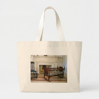 Cradle Near Fireplace Canvas Bags