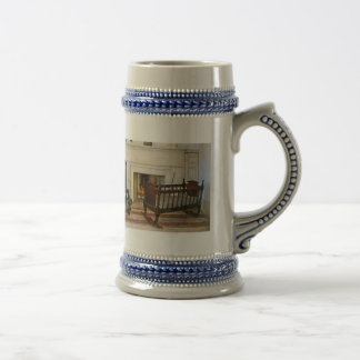 Cradle Near Fireplace 18 Oz Beer Stein