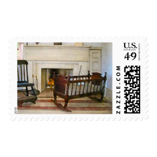 Cradle Near Fireplace Postage Stamps