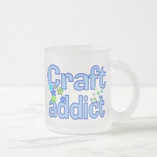 Craft Addict Beads Design Gift 10 Oz Frosted Glass Coffee Mug