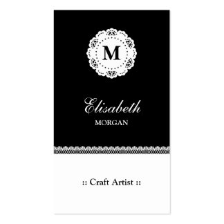 Craft Artist Black White Lace Monogram Double-Sided Standard Business Cards (Pack Of 100)