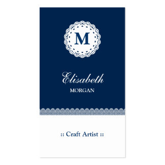 Craft Artist Blue White Lace Monogram Double-Sided Standard Business Cards (Pack Of 100)