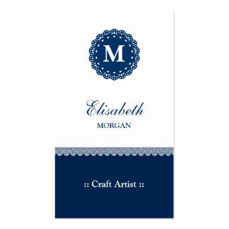 Craft Artist - Elegant Blue Lace Monogram Double-Sided Standard Business Cards (Pack Of 100)