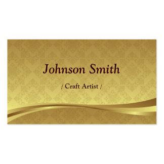 Craft Artist - Elegant Gold Damask Double-Sided Standard Business Cards (Pack Of 100)