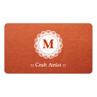 Craft Artist - Elegant Lace Monogram Double-Sided Standard Business Cards (Pack Of 100)