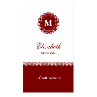 Craft Artist - Elegant Red Lace Monogram Double-Sided Standard Business Cards (Pack Of 100)