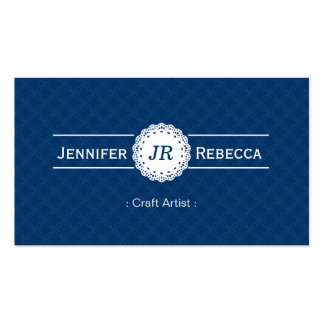 Craft Artist - Modern Monogram Blue Double-Sided Standard Business Cards (Pack Of 100)