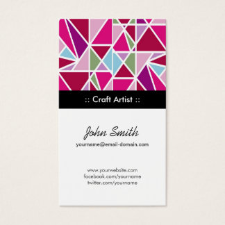 Craft Artist Pink Abstract Geometry Business Card