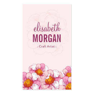 Craft Artist - Pink Boutique Flowers Double-Sided Standard Business Cards (Pack Of 100)