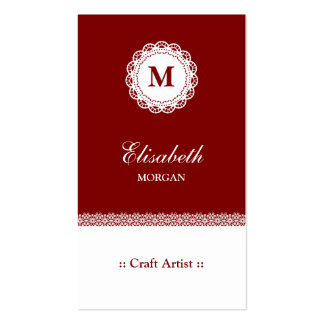 Craft Artist Red White Lace Monogram Double-Sided Standard Business Cards (Pack Of 100)