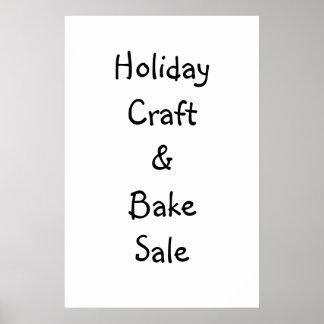Craft & Bake Sale Sign Poster