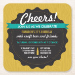 "Craft Beer Birthday Coaster Invite<br><div class=""desc"">Bottle cap style birthday invitation that&#39;s perfect for an adult or 21st birthday party.</div>"