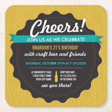 origamiprints Craft Beer Birthday Coaster Invite