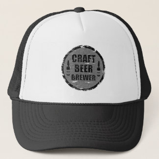 Craft Beer Brewer-Distressed Color Black and White Trucker Hat