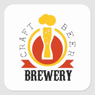 Craft Beer Brewery Logo Design Template Square Sticker