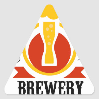 Craft Beer Brewery Logo Design Template Triangle Sticker