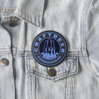 Craft Beer Connoisseur Blue Pinback Button