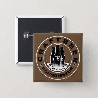 Craft Beer Connoisseur Brown Pinback Button