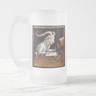 Craft Beer Goat Mug: Zymology Frosted Glass Beer Mug