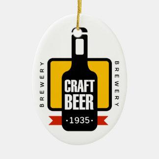 Craft Beer Logo Design Template Ceramic Ornament