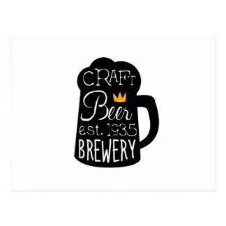 Craft Beer Logo Design Template With Pint Silhouet Postcard