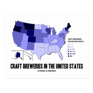 Craft Breweries In the United States (US Map) Postcard