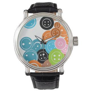 Craft Buttons Art Pattern Wristwatch