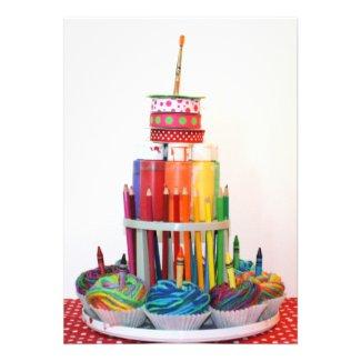 """Craft Cake"" Birthday Party Invitation"