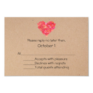 Craft Hearts Wedding RSVP Card