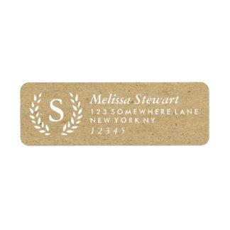 Craft Laurel Wreath Monogram Return Address Label