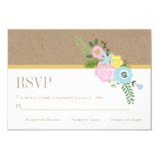 Craft paper and pink, aqua flowers wedding RSVP 3.5