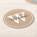 "Craft Paper Look Monogram Paper Coasters<br><div class=""desc"">Stylish pulp board paper coasters done in a brown craft paper look,  with graphics of a white dotted circle around the outside edge.  Personalize the large white one letter monogram and black script text to suit your needs.  Great for anytime use and makes a nice gift idea.</div>"