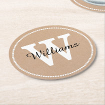 Craft Paper Look Monogram Paper Coasters