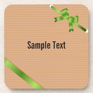 Craft Paper With Green Ribbons Coasters