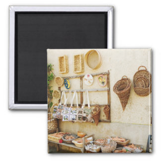 Craft product at a market stall, Siena Province, 2 Inch Square Magnet
