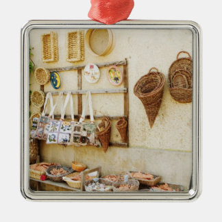 Craft product at a market stall, Siena Province, Square Metal Christmas Ornament