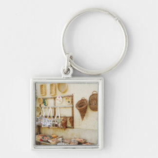 Craft product at a market stall, Siena Province, Silver-Colored Square Keychain