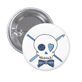 Craft Skull (Blue) 1 Inch Round Button