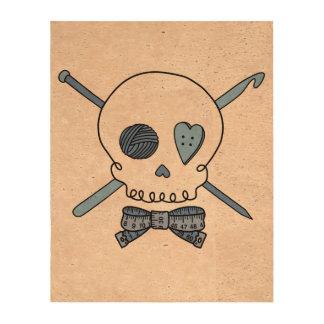 Craft Skull Blue Cork Fabric