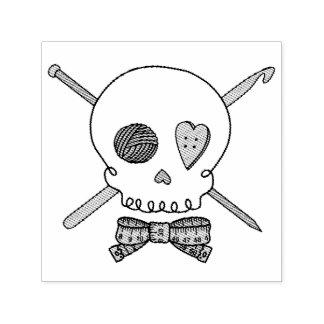 Craft Skull - Knit & Crochet (Bow Tie) Self-inking Stamp