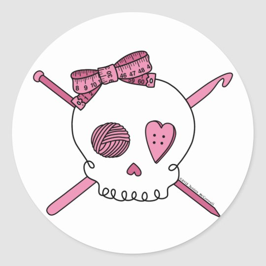 Craft Skull (Pink) Classic Round Sticker