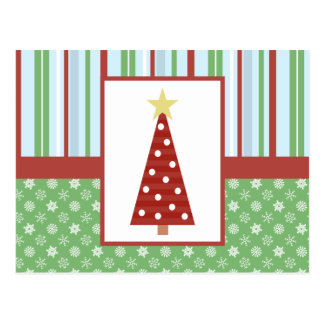 Craft Style Red Tree Holiday Postcard