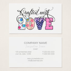 Crafted With Love Black Script Id193 Business Card at Zazzle