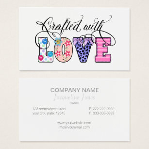 Craft business cards templates zazzle crafted with love black script id193 business card colourmoves Images