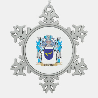 Crafter Coat of Arms - Family Crest Snowflake Pewter Christmas Ornament