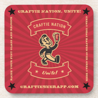 """""""Craftie Nation"""" on Red Coasters (set of 6)"""