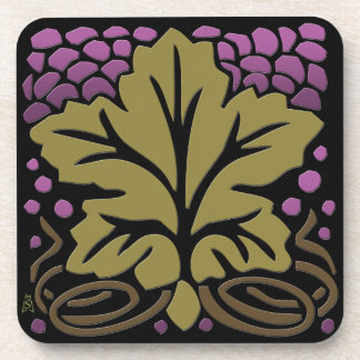 Craftsman Grape Leaf and Grapes Drink Coaster