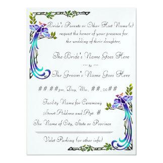 Craftsman Peacocks (Metallic Wedding Invitation) 6.5x8.75 Paper Invitation Card
