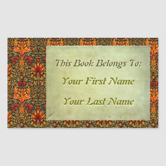 Craftsman Saturated Floral Personalized Bookplates Rectangular Sticker